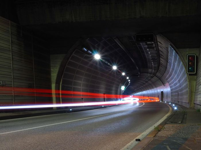 Architecture Blurred Motion Business Finance And Industry Car City City Life City Street Highway Illuminated Light Trail Long Exposure Man Made Structure Motion Night No People Outdoors Portal Rush Hour Speed Street Light Traffic Transportation Tunnel