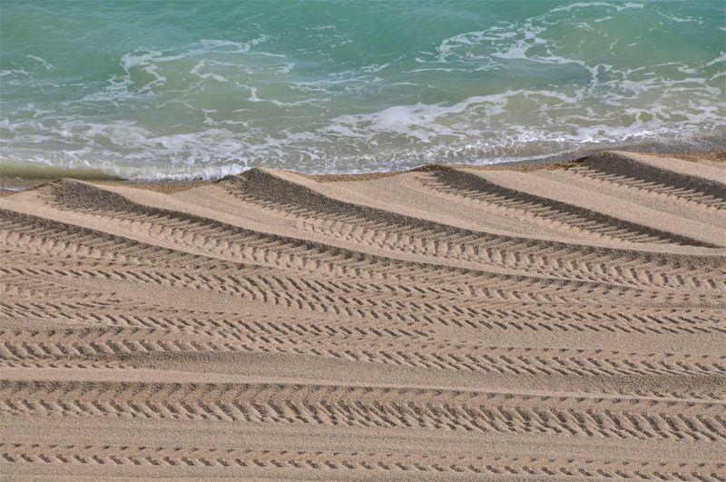 Tractor Beach Day España Nature No People Sand Sea Sunlight Tracks Water Wave
