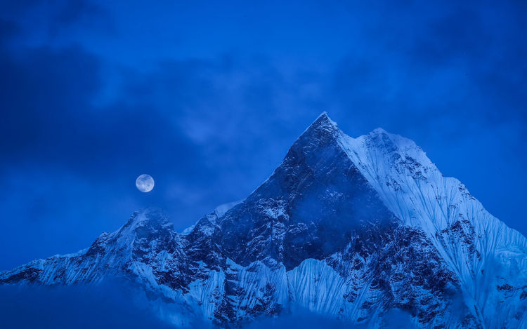 Full moon over machapuchare, or Fishtail. Astronomy Beauty In Nature Blue Cold Temperature Fishtail  Fullmoon Galaxy Landscape Machapuchare Base Camp Machapucharé Moon Mountain Nature Night No People Outdoors Scenics Sky Snow Tranquility