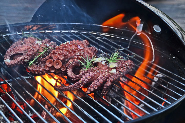Octopus barbecue on a sunday afternoon job • Day Afternoon Delicious Churrasco Polvo Chef Food Stories Barbecue Grill Barbecue Grilled Heat - Temperature Flame Preparation  Smoke - Physical Structure Food Burning Meat Coal No People Healthy Eating Char-grilled Close-up Freshness Fire Pit
