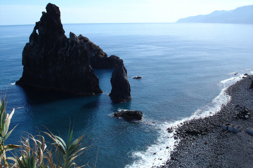 Beach Beauty In Nature Blacksand Cliff Day Horizon Over Water Nature No People Outdoors Rock Rock - Object Scenics Sea Tranquility Water
