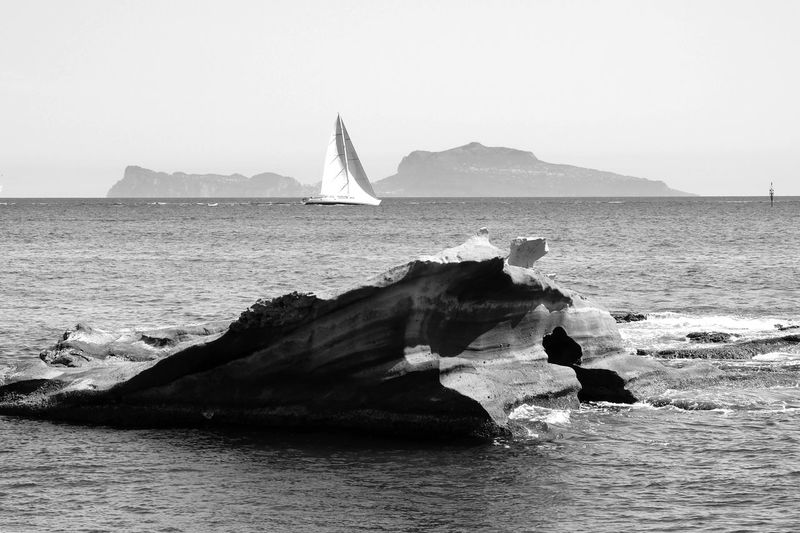 Capri, Italy Art Beauty In Nature Black And White Clear Sky Day Landescape Landescapes With Sea Nature Nautical Vessel No People Outdoors Rock - Object Sailboat Sailing Scenics Sea Sea Rock Sky Tranquility Water