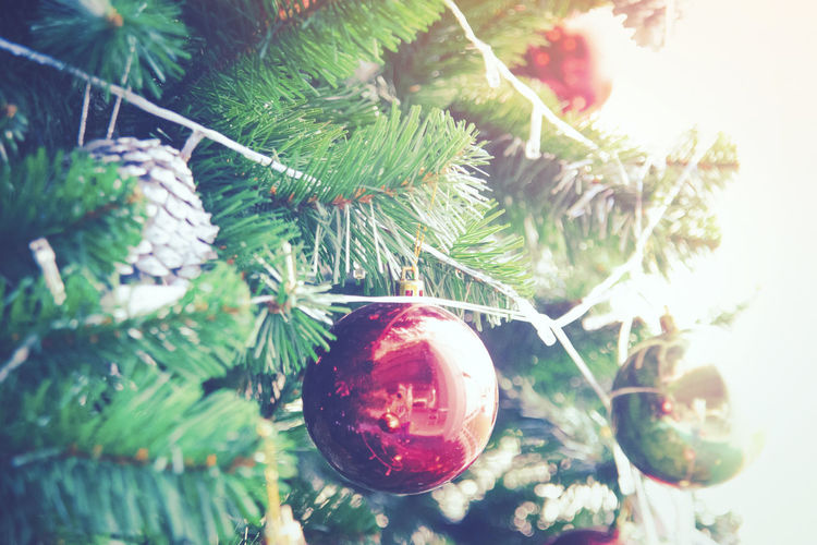 Christmas tree decoration with vintage style for new year festival. Christmas Balls Elegant Event Happiness New Year Celebrating Christmas Decoration christmas tree Decoration Festival Ornaments Seasonal Vintge