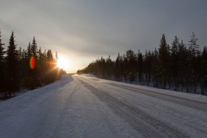 The frozen road to Ivalo, Lapland Arctic Beauty In Nature Country Road Diminishing Perspective Empty Road Finland Idyllic Inari Ivalo Landscape Lapland No People Non-urban Scene Outdoors Road Scenics Sky Snow Sunbeam Sunset The Way Forward Tranquil Scene Tranquility Tree Vanishing Point