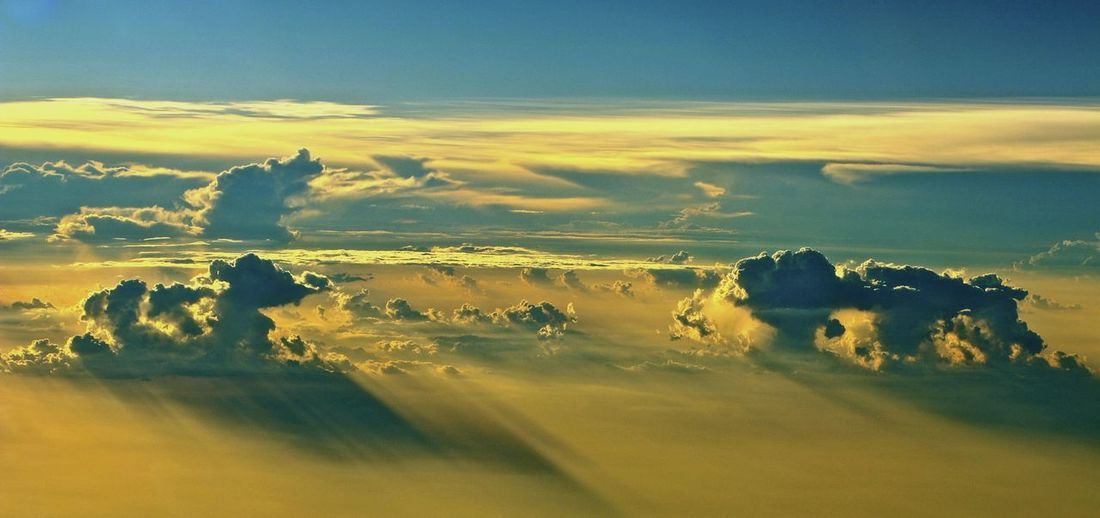 Aerial view of cloudscape against dramatic sky