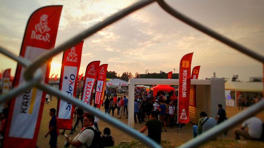 Sunset, flags and wires Sunset Flags Rally Race Dakar Peru Day0 Luck Lantern City