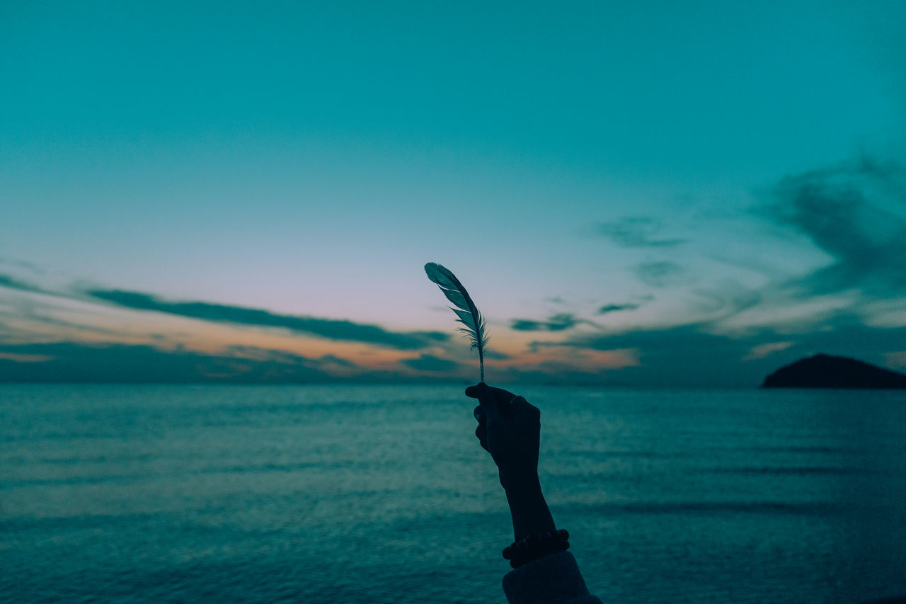 Cropped image of hand holding feather against sea during sunset