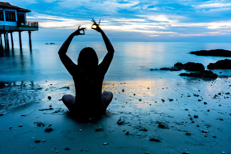 Ocean Malaysia Port Dickson Sea Beach Yoga Exercising Zen-like One Person Balance People Water Only Women Relaxation Exercise Silhouette Adult Adults Only Landscape Healthy Lifestyle Sunset Sky One Woman Only Human Body Part