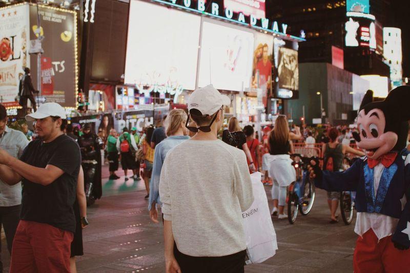 Newyork Newyorkcity Night TimesSquare Portrait Portrait Of Friends Busy Relaxing