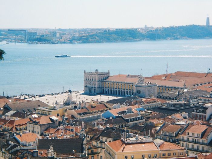 Praça do Comercio from Castelo de Sao George Architecture Building Exterior Built Structure High Angle View Water Lisbon Sea Clear Sky Day Sky Roof House Outdoors Nautical Vessel No People City Residential Building Cityscape Tree