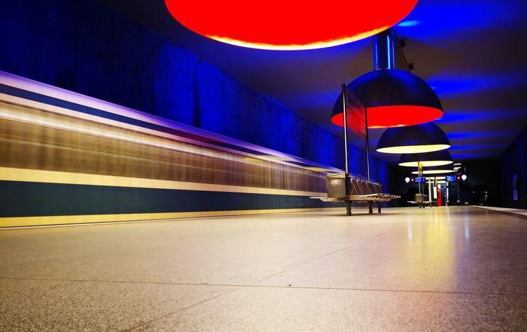 Subway Transportation Illuminated Night Subway Station Long Exposure Public Transportation Indoors
