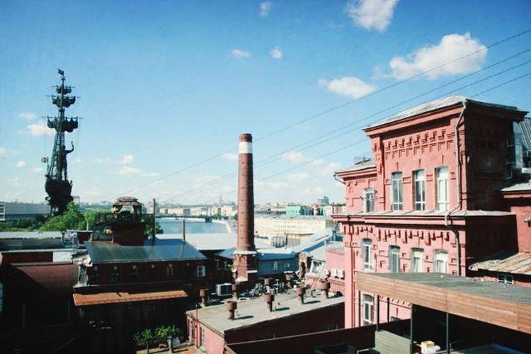Вид с крыши Красного Октября Red Oktober River Chocolate Fabric