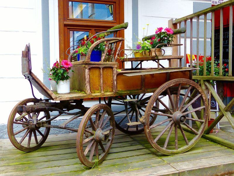 Hallstatt Salzkammergut, Austria Austria ❤ Wooden Cart Flower Display Wooden Flowers