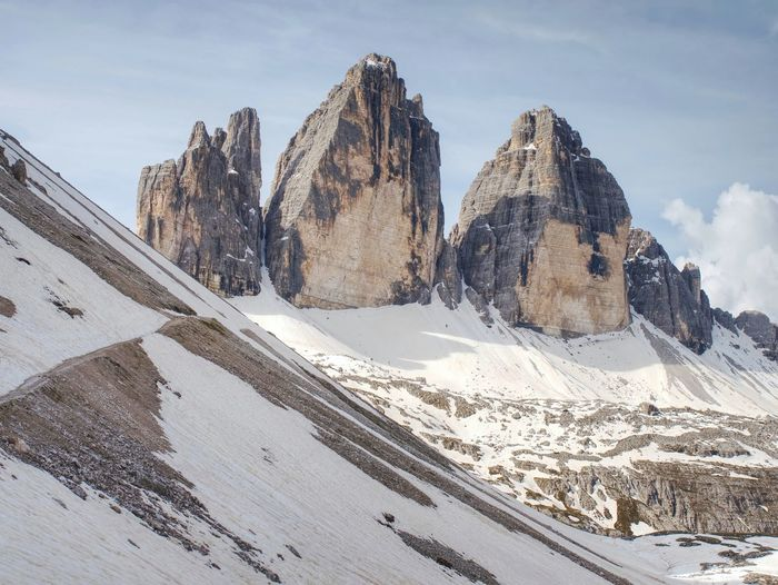 Beautiful view of high towers in italy alps, tre cime di lavaredo, dolomites, europe