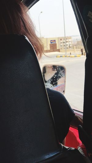 Mirror Red Hair Girl Mode Of Transportation Vehicle Interior Transportation Land Vehicle Car Motor Vehicle Real People One Person Lifestyles Window