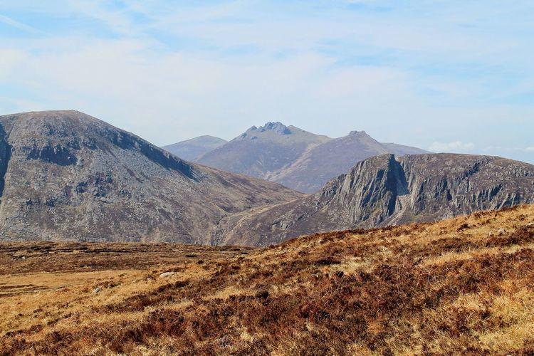 Landscape against rocky mountains