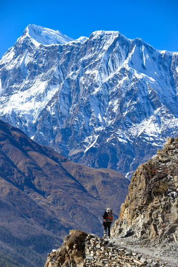 Annapurna Nepal Adventure Beauty In Nature Climbing Day Hiking Landscape Mountain Mountain Peak Mountain Range Nature Outdoors Scenics Sky Snow Snowcapped Mountain The Natural World
