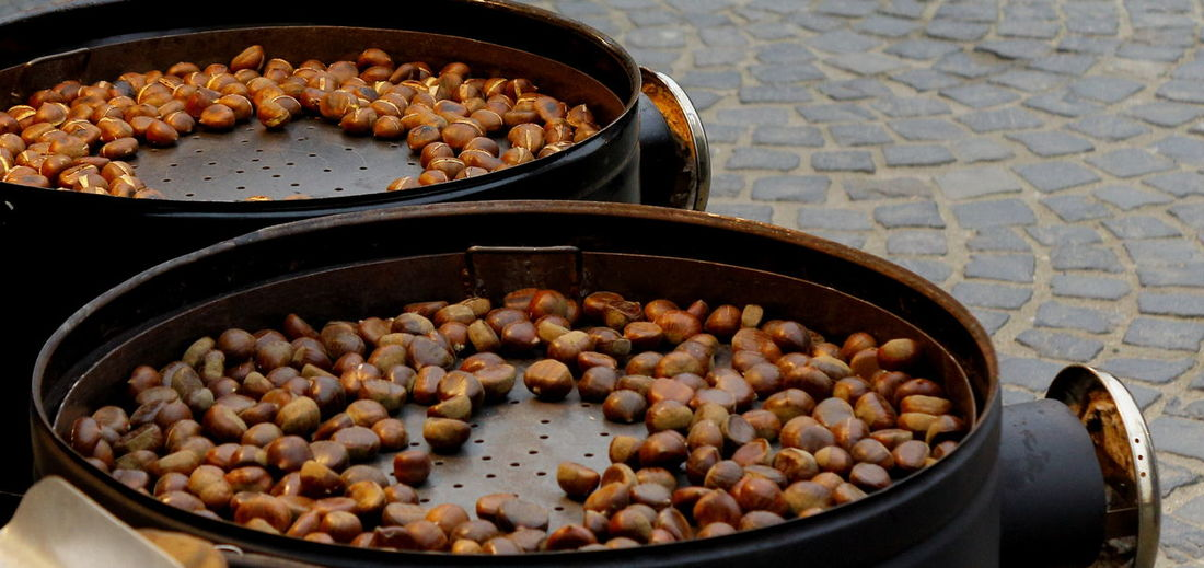 High angle view of chestnuts in container