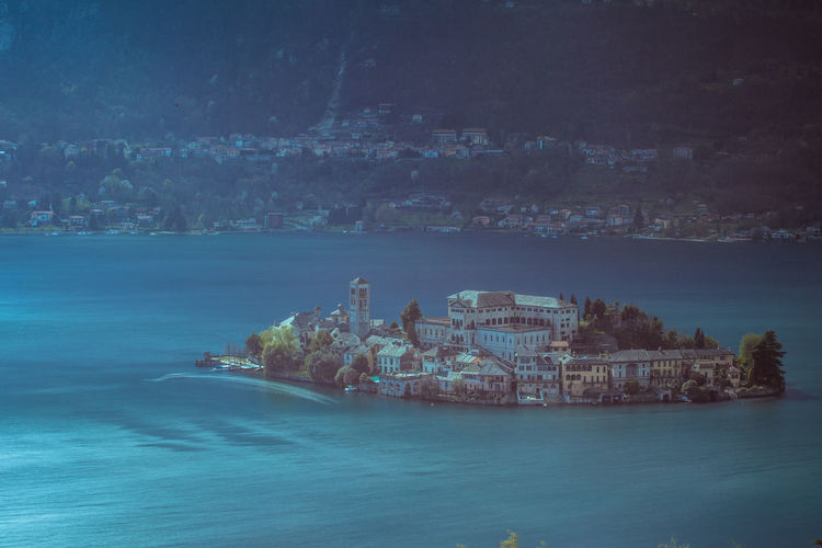 High angle view of isola san giulio in lake orta