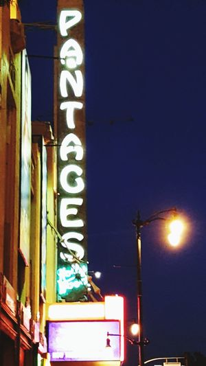 Old Hollywood Los Angeles, California Pantages Theater Neon Illuminated Nightlife City Multi Colored Text Architecture Building Exterior