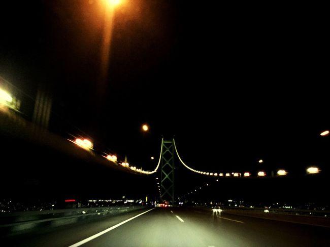 Bridge Night Lights Driving Highway