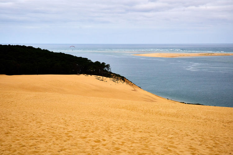 Beautiful sand dune Dune de Pilat in South France during summer with a view to the ocean. Arcachon Coastline France Nature Paragliding South Tranquility Beach Biggest Blue Blue Sky Dune Dune Du Pilat Europe Horizon Over Water Idyllic Landscape Ocean Outdoors Paraglider Sand Sand Dune Summer Tranquil Scene Water