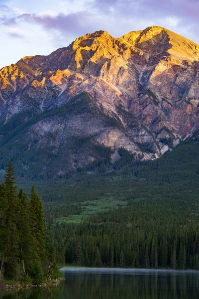 Pyramid Lake Landscape Mountain Sunrise Golden Hour Lake Rocky Mountains Canadian Rockies  Jasper National Park