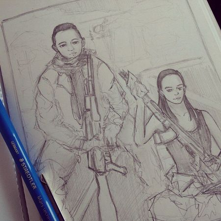 """Len bikinin gw ama Chelsea dng lg megang AK-47"" Random request from @aldyaditya lol. Here's you and @chelseaislan holding AK ? AK47 Doodle Request Sketch"