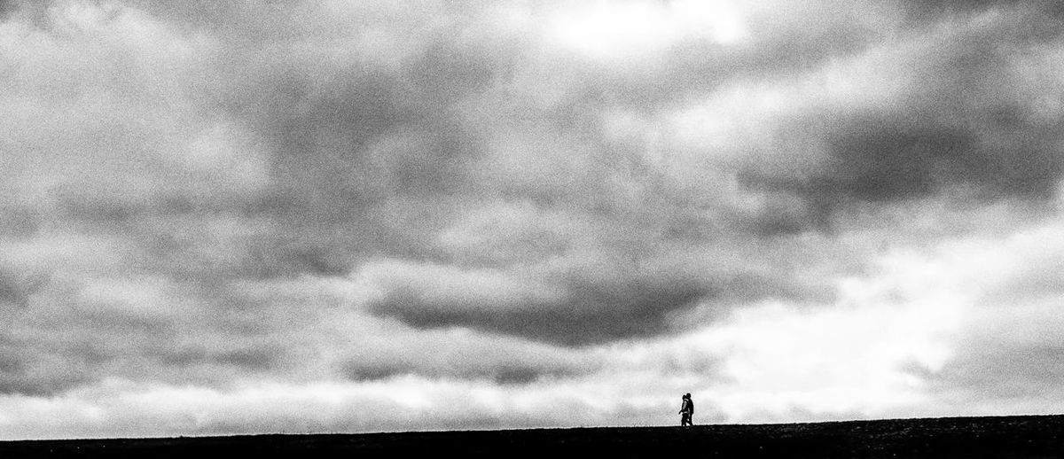 All alone too Black And White Blackandwhite Cloud Cloud - Sky Cloudy Full Length Grainy Leisure Activity Lifestyles Low Angle View Men Nature Outdoors Overcast People Silhouette Sky Standing Tranquility Tranquility Traveling Unrecognizable Person Weather