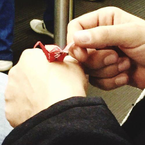 On the way Tsuru Origami Metro Human Hand Human Body Part Real People Gift Indoors