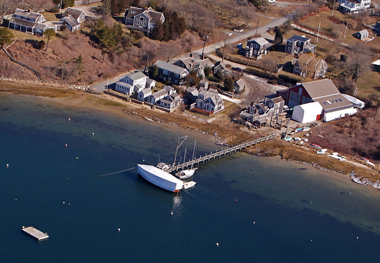 Pease Boatworks Aerial at Cgatham, Cape Cod Pease Boatworks Chatham Cape Cod
