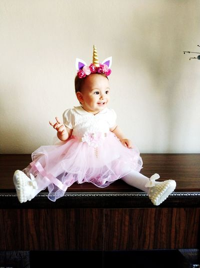 Child Tiara Childhood Crown Portrait Sitting Girls Full Length Pink Color Cute Costume