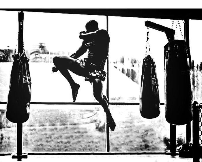 MuayThai Boxing Training Black And White