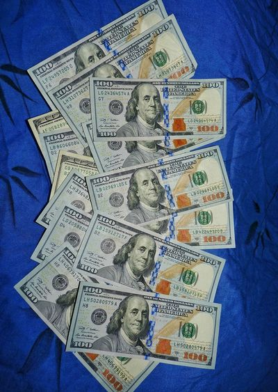 hundred dollar bills, American money American USA Blue Material Green Wealth Prosperity Savings Dollar Symbol Capital Financial Banking Making Money Paper Currency Currency Blue Savings Finance Wealth Backgrounds Close-up Money Crumpled Investment Western Script