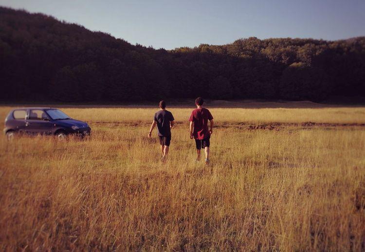 Rear view of people walking on field