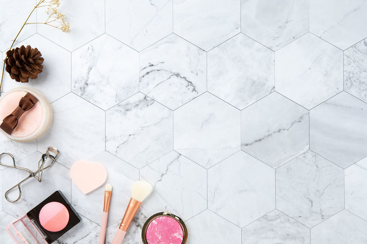High angle view of beauty products on table