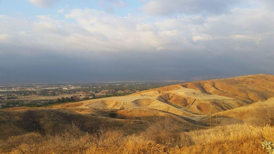 Skyline Over City Sand Dune Desert Sand Sky Landscape Cloud - Sky Arid Landscape Civilization