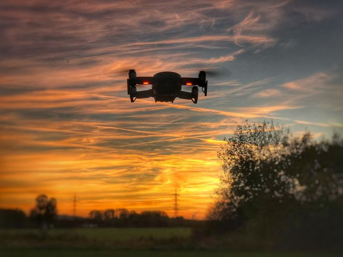 Mavic Air Sunset Sky Cloud - Sky Orange Color Silhouette Beauty In Nature Nature Scenics - Nature Plant Tree Transportation Outdoors Land Idyllic Real People Technology Camera - Photographic Equipment Photography Themes Leisure Activity