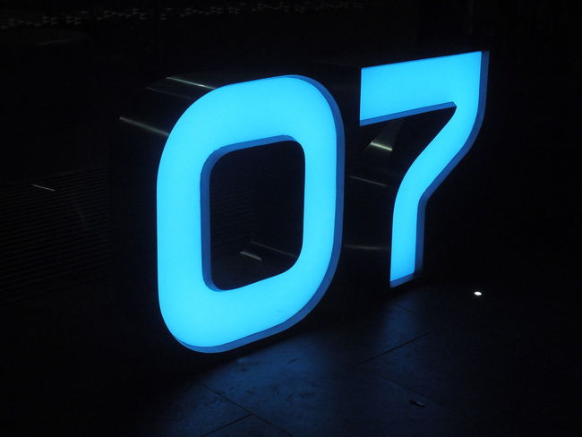 07 3D 7 Alphabet Blue Building Number Sign Muttly Muttlypictures Neon Neon Lights Night No People Outdoors Sculpted Metal Sculpted Number