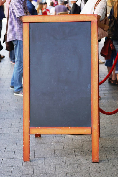 Advertising Blackboard  Blank Copy Space Customer Stopper Customers Mock-up People Sandwich Board Street Unrecognizable People