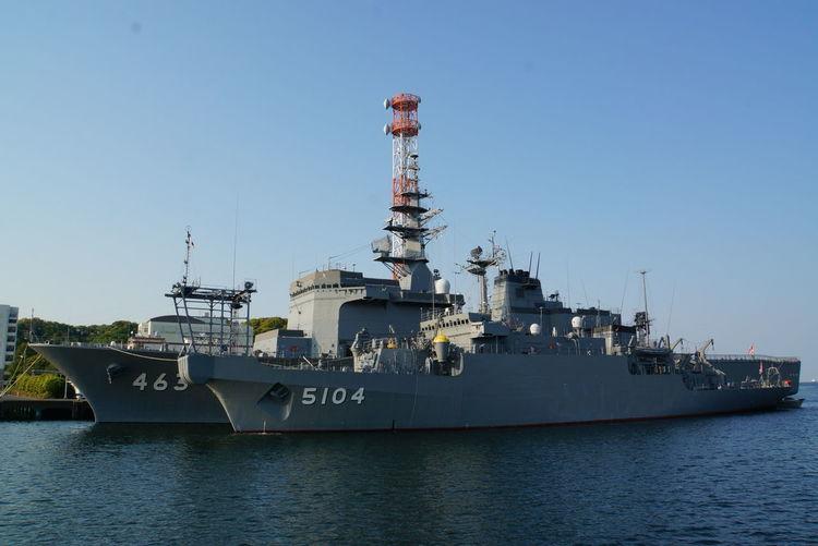 奥が「うらが」、手前が「わかさ」。 JMSDF Military Ship