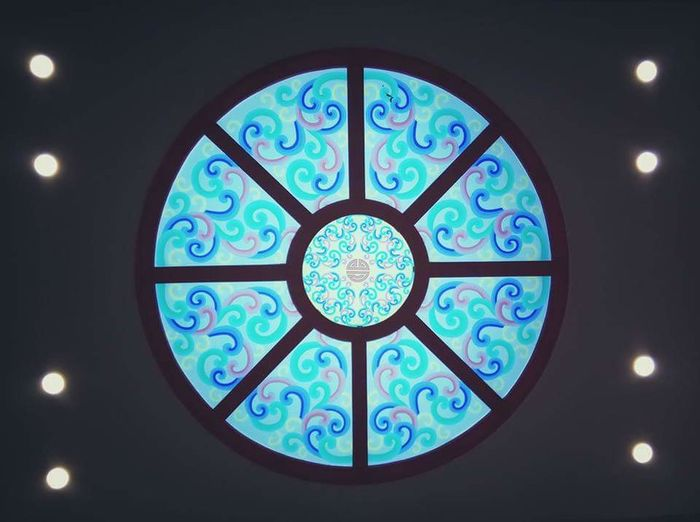 Mongolian shape Pattern Blue Window Indoors  No People Day Modern