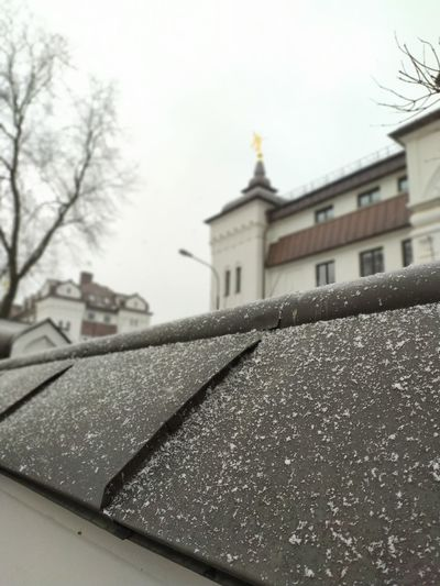 Building against sky during rainy season