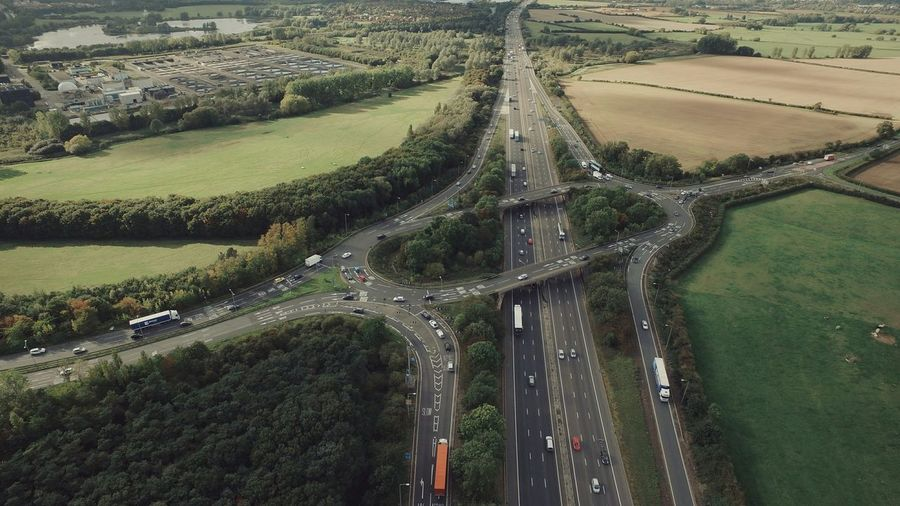 M1 Junction 14 Motorway DJI Inspire 1 Aerial Photography Vscocam VSCO