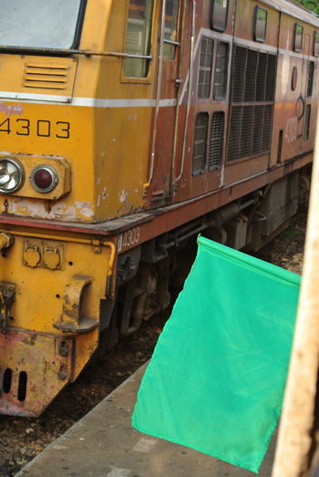 Day Dessel Green Flag Mode Of Transport No People Outdoors Train - Vehicle Transportation Yellow Color