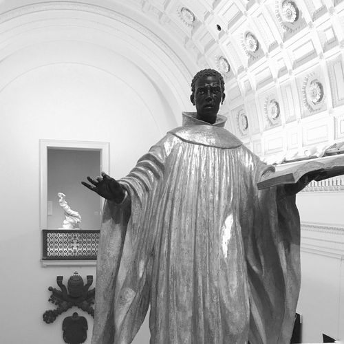 Minneapolis Institute Of Art Minneapolis Black And White Blackandwhite Photography Black & White Blackandwhite One Person Low Angle View Built Structure Representation Rear View Standing Indoors  Art And Craft Statue Sculpture Creativity Ceiling