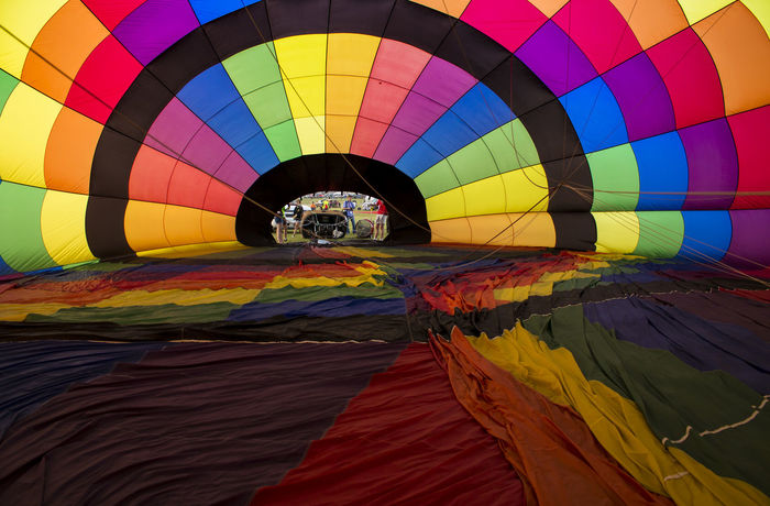 Hot Air Balloon Inside Colors Inflatable  Shape Bright Fabric Squares Rainbow Colors Balloon Vibrant Colors Vibrance Happy