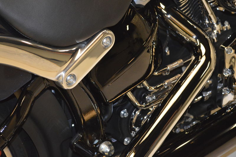 Close-up of parked motorcycle