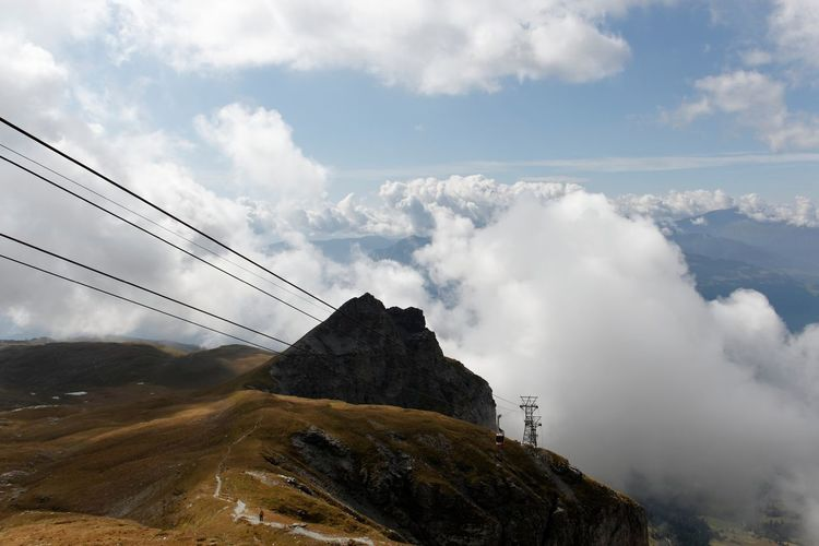 Beauty In Nature Cable Cloud Cloud - Sky Cloudy Day Engineering Hill Idyllic Landscape Mountain Mountain Range Nature No People Non-urban Scene Outdoors Physical Geography Remote Scenics Sky Tourism Tranquil Scene Tranquility Travel Destinations Weather
