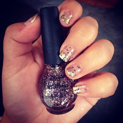 Gold Frenchtips Sparkles Purple pink love nicole opi love classy